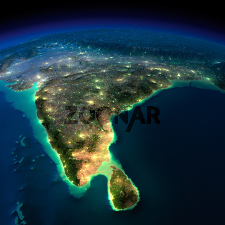 Night Earth. India and Sri Lanka