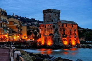 Rapallo Burg Nacht - Rapallo castle night 01