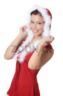 The Christmas girl isolated on white