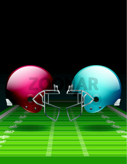 American Football Field and Helmets