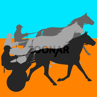 vector silhouette of horse and jockey