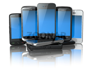 Choose mobile phone. Pile of new cellphones.