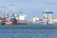 Cargo ships unloading at a port