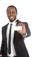 African businessman presenting his card