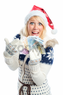 frau mit weihnachtsgeld