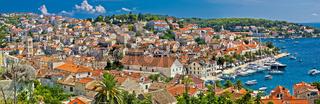 Town of Hvar aerial panorama