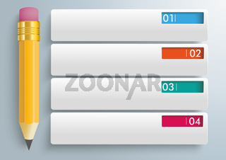 Pencil 4 Rectangle Banners Infographic PiAd