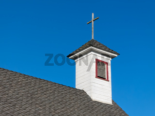 Old White Rural Church Steeple and Belfry