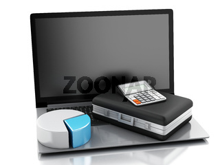3d Briefcase, statistic graph and laptop pc. Business office concept