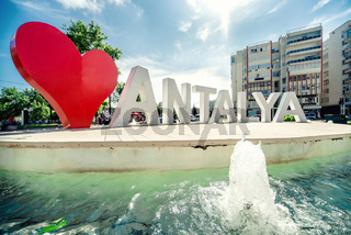 Love Antalya, famous fountain in the centre of Antalya, Turkey