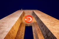 Canakkale Martyrs' Memorial At Night With Turkish Flag