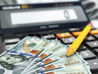 Calculator and dollars. Financial or banking concept.