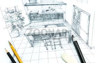 Interior hand drawing