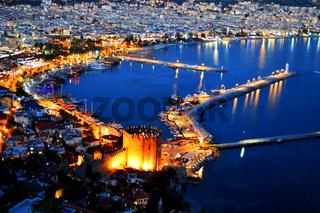 View of Alanya harbor form Alanya peninsula. Turkish Riviera by night