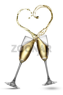 Champagne splash in shape of heart isolated