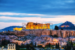 Acropolis in the evening after sunset