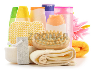 Composition with  body care accessories and beauty products isolated on white