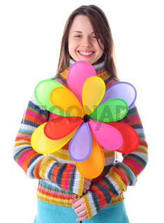 Girl with colorfull pinwheel