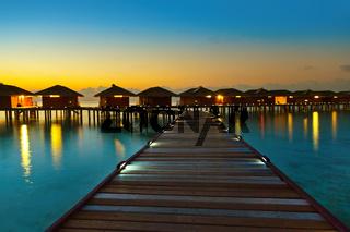 Water bungalows on Maldives island