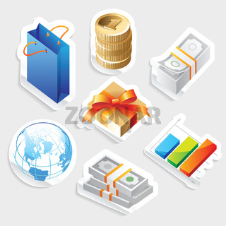 Sticker icon set for retail