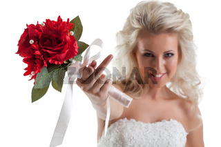 Portrait of naughty bride shows rude gesture