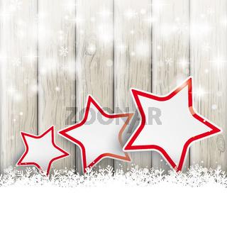 Snowfall Glitter 3 Stars Ash Wooden Background