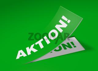3D Etikett Grün - Aktion