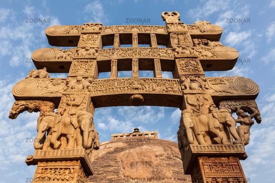 Gateway decoration of Great Stupa - ancient Buddhist monument. Sanchi