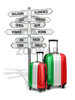 Travel concept. Suitcases and signpost what to visit in Italy.