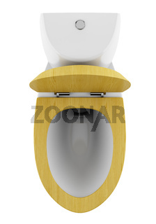 top view of modern toilet bowl with wooden cover isolated on white background