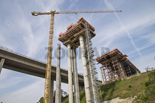 Bau der Lahntalbrücke bei Limburg