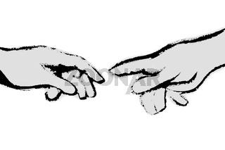 Michelangelos Fingerzeig schwarz-weiss