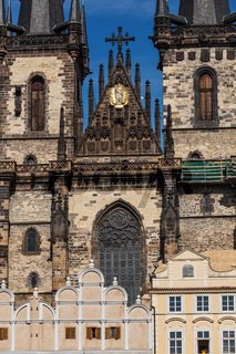 View of Tyn Church (Tynsky Chram) on Old City Square from Town Hall. Prague