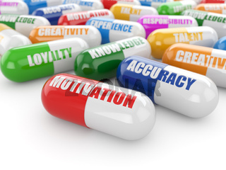 Skills concept. Pills with a list of positive qualities for employment.
