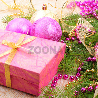 christmas gold and pink with pine branch