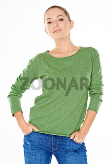 Young Woman in Casual Attire on White Background