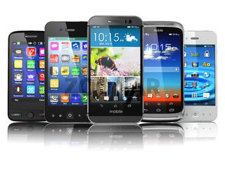 Choosing of mobile phone.  Different modern smartphones with touchscreen and colorful apps isolated on white background.