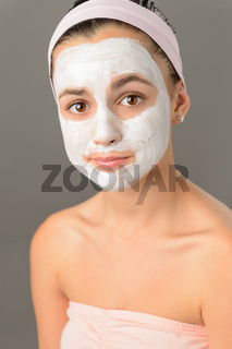 Sad teenage girl face mask skin beauty