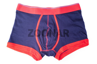 blue and red male underwear isolated on white background