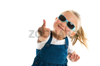 Little girl showing thumbs up