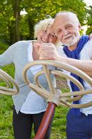 Senioren spielen mit Lenkrad im Park