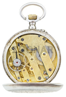 top view of brass movement of vintage pocket watch