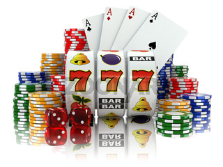 Casino. Slot machine with jackpot, dice, cards and chips.