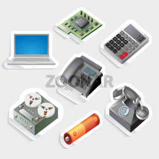 Sticker icon set for devices and technology