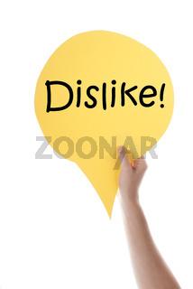 Yellow Speech Balloon With Dislike
