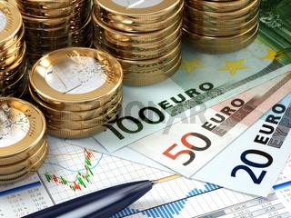 Financial stock market concept. Euro banknotes and coins.