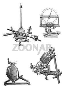 Vintage geodetic and astronomical devices