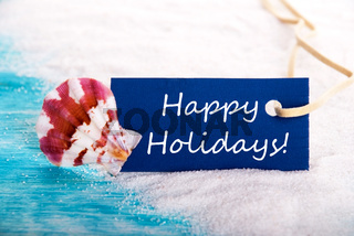 Label with Happy Holidays with and Beach and Holiday Background