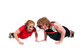 Couple doing pushups