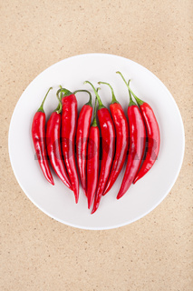 Plate with fresh chili peppers